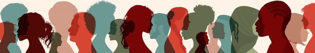 Image avec des silhouettes de femmes et d'hommes de différentes cultures et différents pays